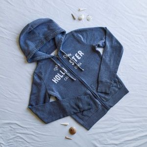Hollister - Gray, Zip-Down Sweater
